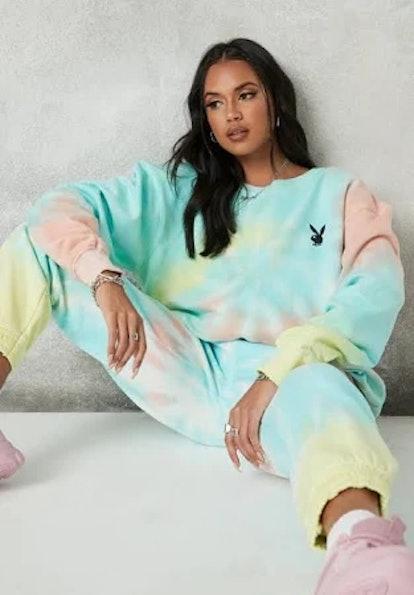 Playboy x Missguided Pastel Tie Dye Oversized Crew Neck Sweatshirt