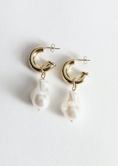 Pearl Pendant Mini Hoop Earrings