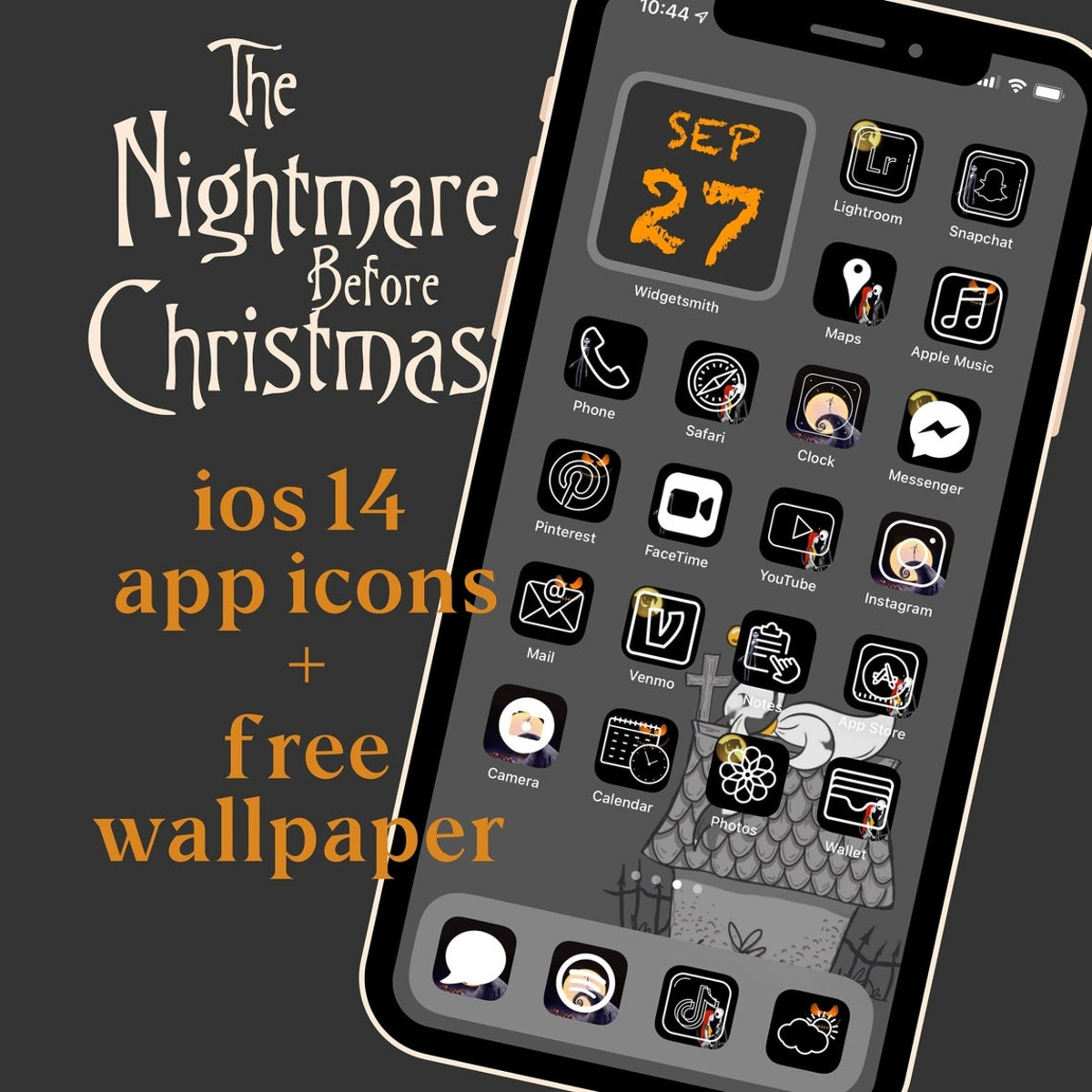 The Nightmare Before Christmas Halloween iOS 14 App Icon Covers + FREE MATCHING WALLPAPER