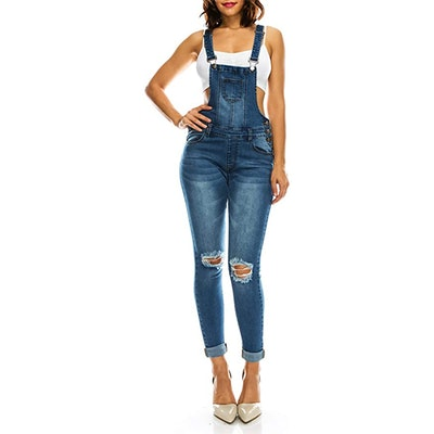 TwiinSisters Distressed Stretch Skinny Overalls
