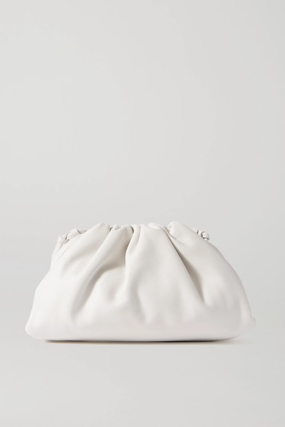 The Pouch small gathered intrecciato leather clutch