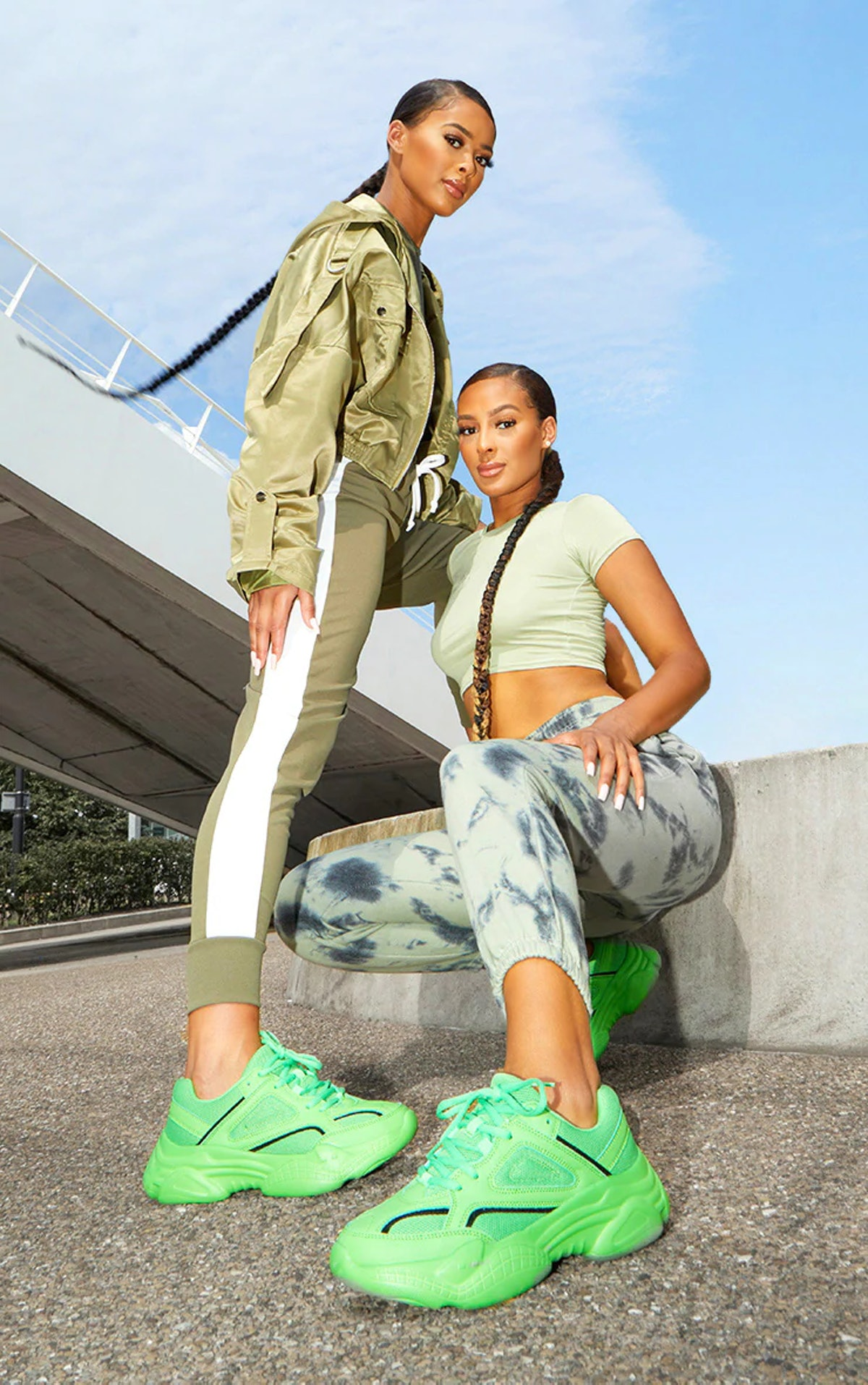 PrettyLittleThing Green Reflective Panel Arch Sole Chunky Sneakers