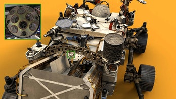 A rendering of the Perseverance Mars rover, with the Laser Retroreflector Array (LaRA) highlighted.