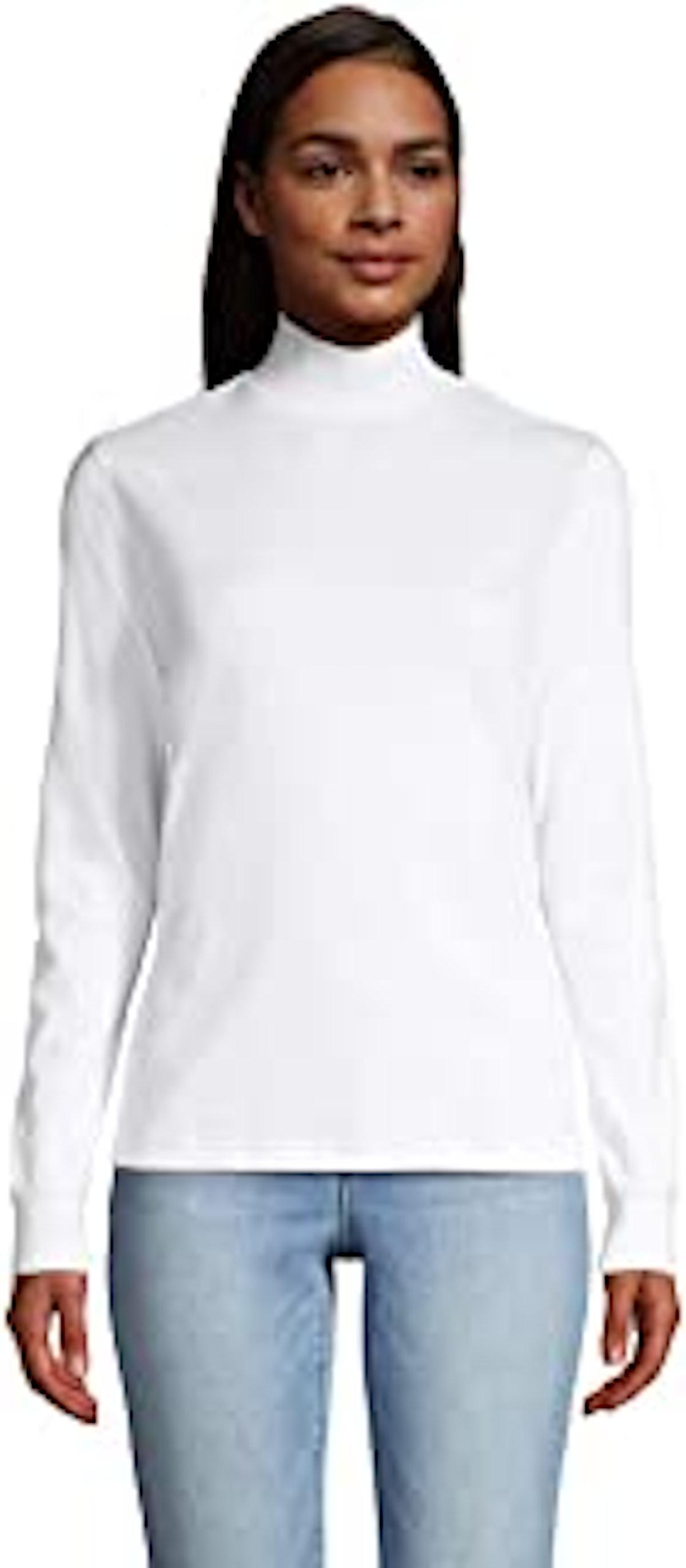 Lands' End Women's Relaxed Cotton Long Sleeve Mock Turtleneck