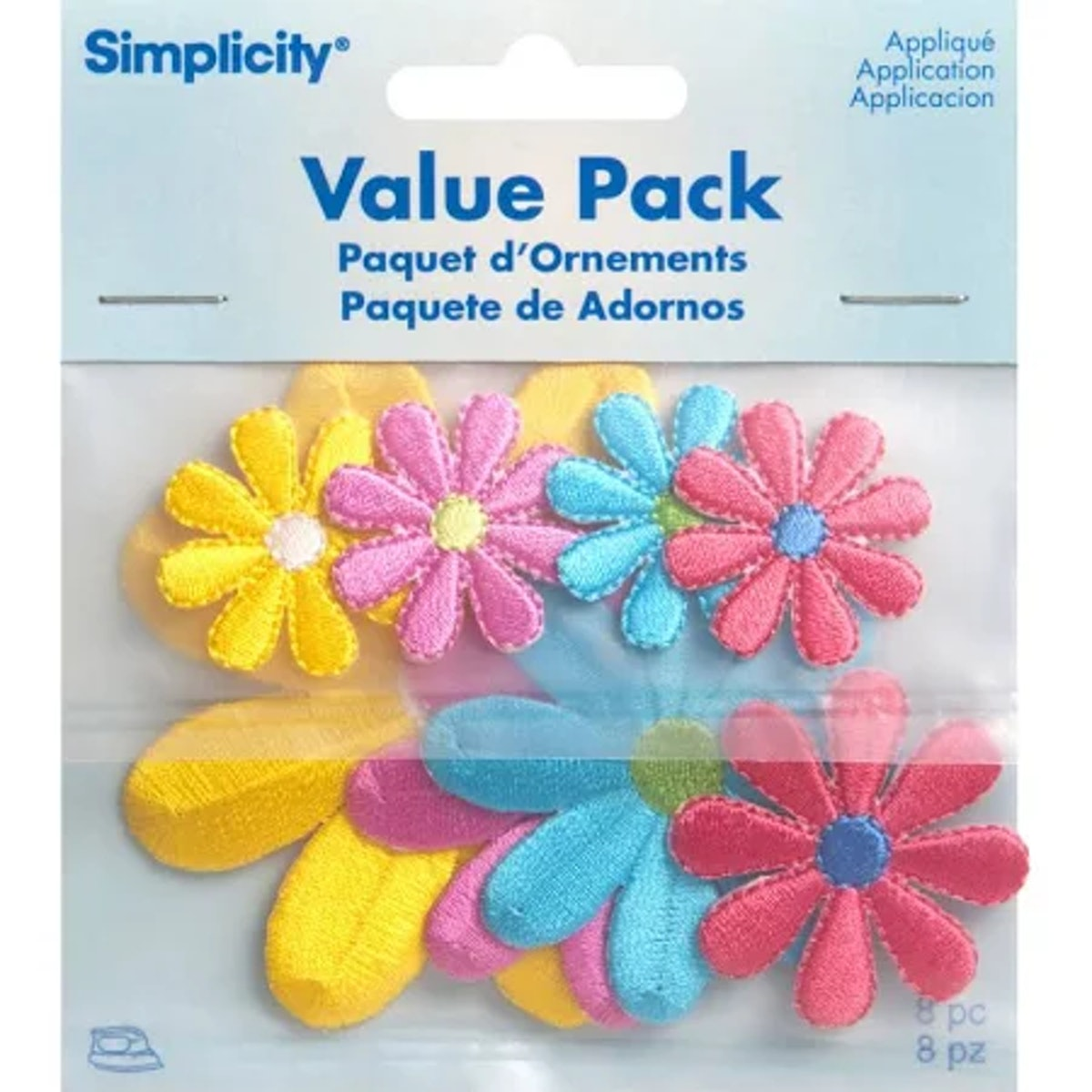 Simplicity Iron On Applique Assorted Daisy Flowers Pack 8 pcs
