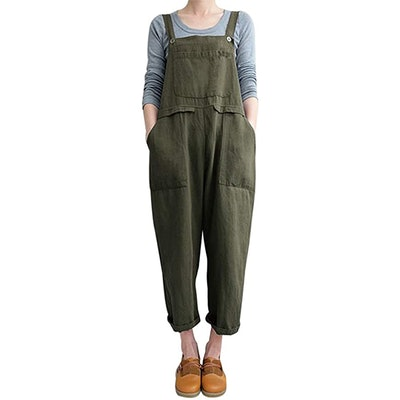 Gihuo Baggy Overalls With Pockets