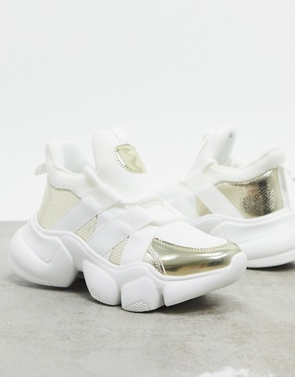 ASOS Design Desire Neoprene Lace Up Sneaker in White and Gold
