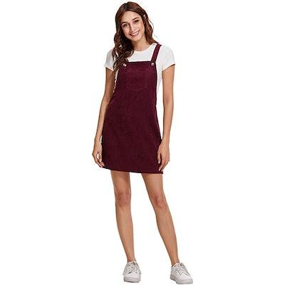 Romwe Corduroy Bib Pocket Dress