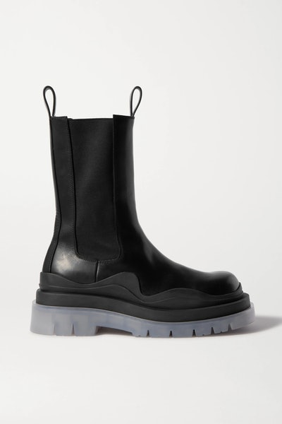 Rubber-Trimmed Leather Chelsea Boots