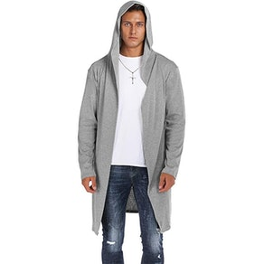 RAGEMALL Men's Long Hooded Open Front Sweater