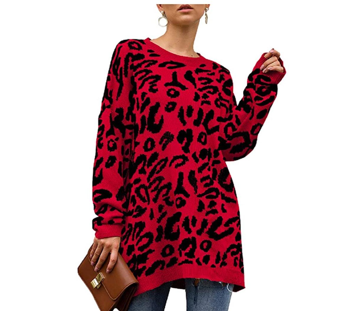 NSQTBA Leopard Print Sweater
