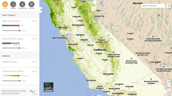 A screenshot of the California Forest Observatory's interactive wildfire map. This screenshot shows the Southern California region.