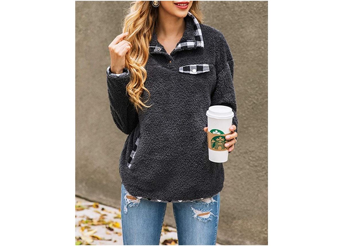 KIRUNDO Plaid Print Fleece Sweatshirts