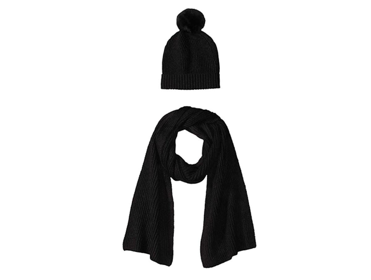 Amazon Essentials Pom Knit Hat and Scarf Set