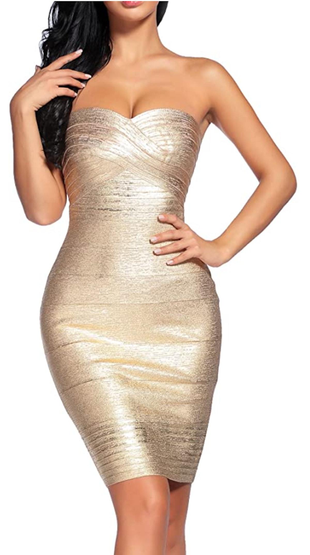 Madam Uniq Strapless Bandage Mini Dress