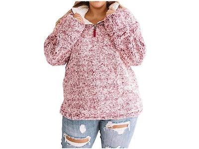 LALAGEN Women's Plus Size Sherpa Pullover Tops with Pockets