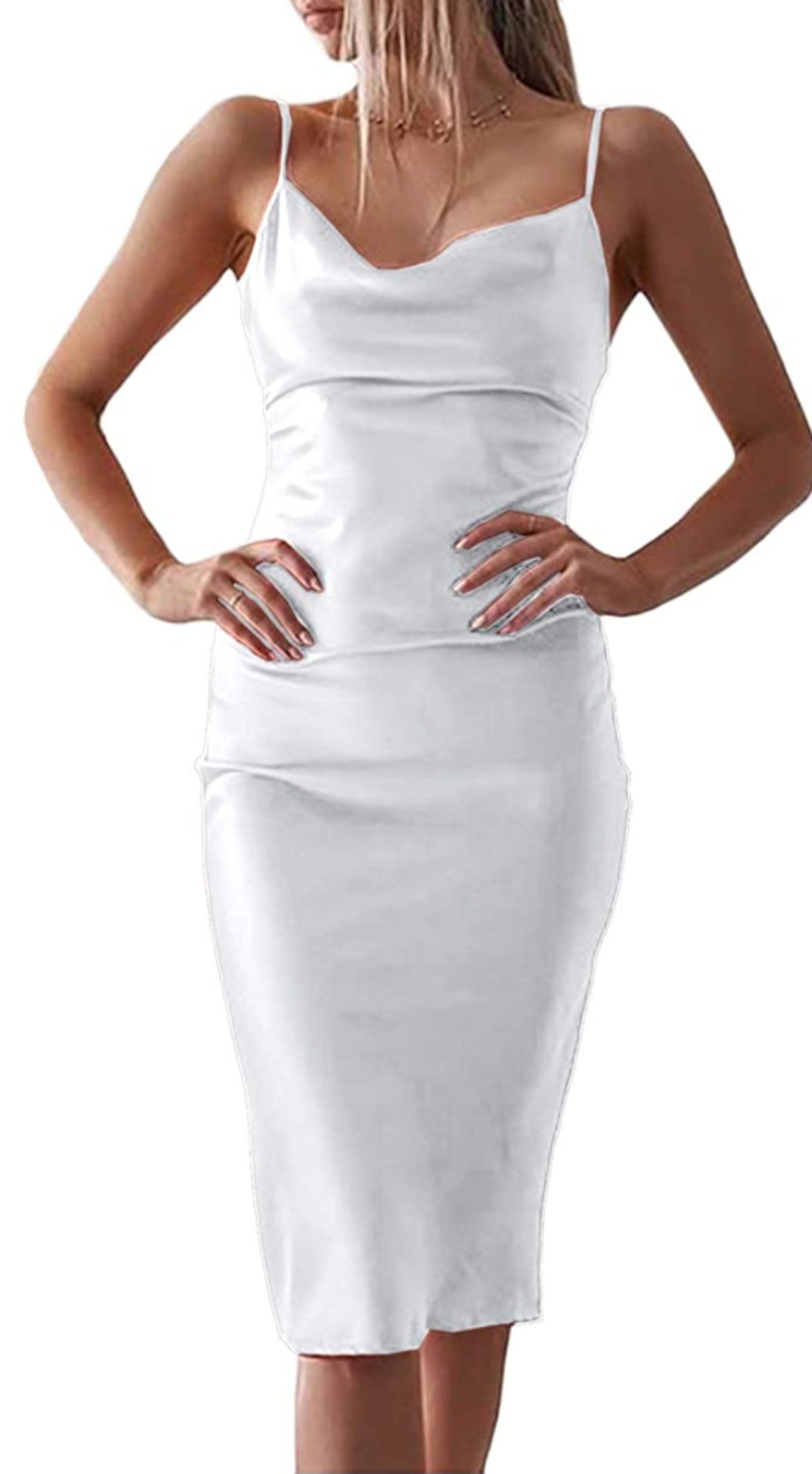xxxiticat Satin Cowl Neck Midi Dress