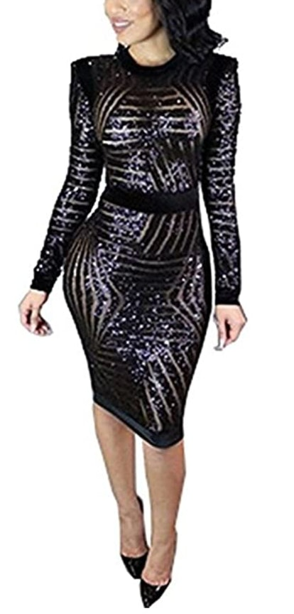 Kearia Black Sequin Long Sleeve Midi Dress