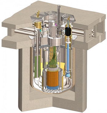 A traveling wave reactor. The rods are at the orange cylinders at the bottom.