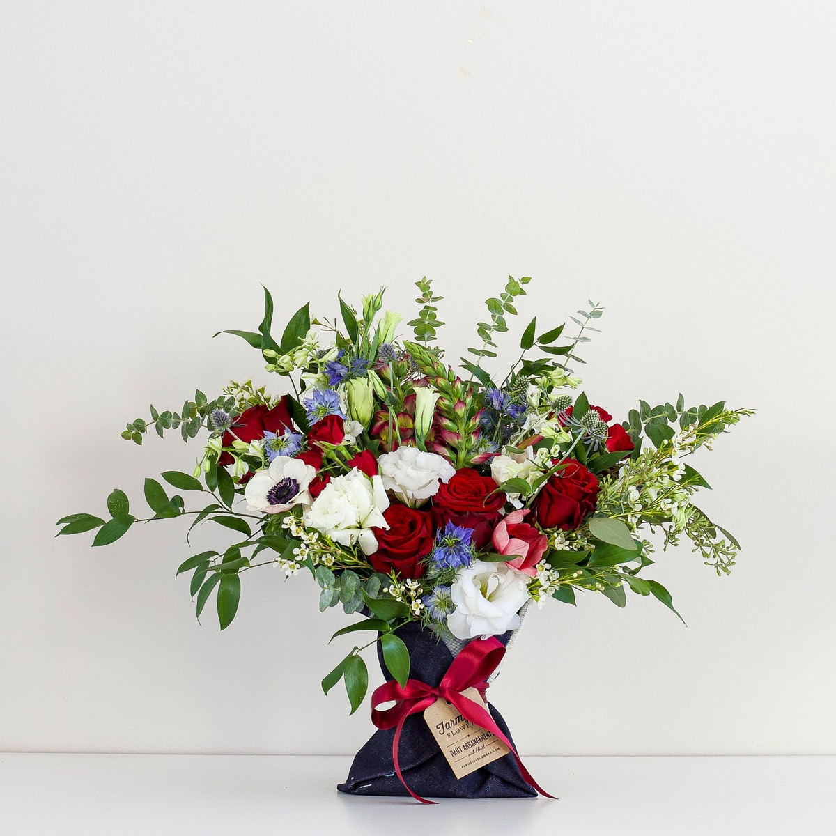 With Heart Denim-Wrapped Bouquet