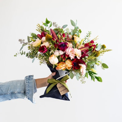 Just Right Denim-Wrapped Bouquet, $79