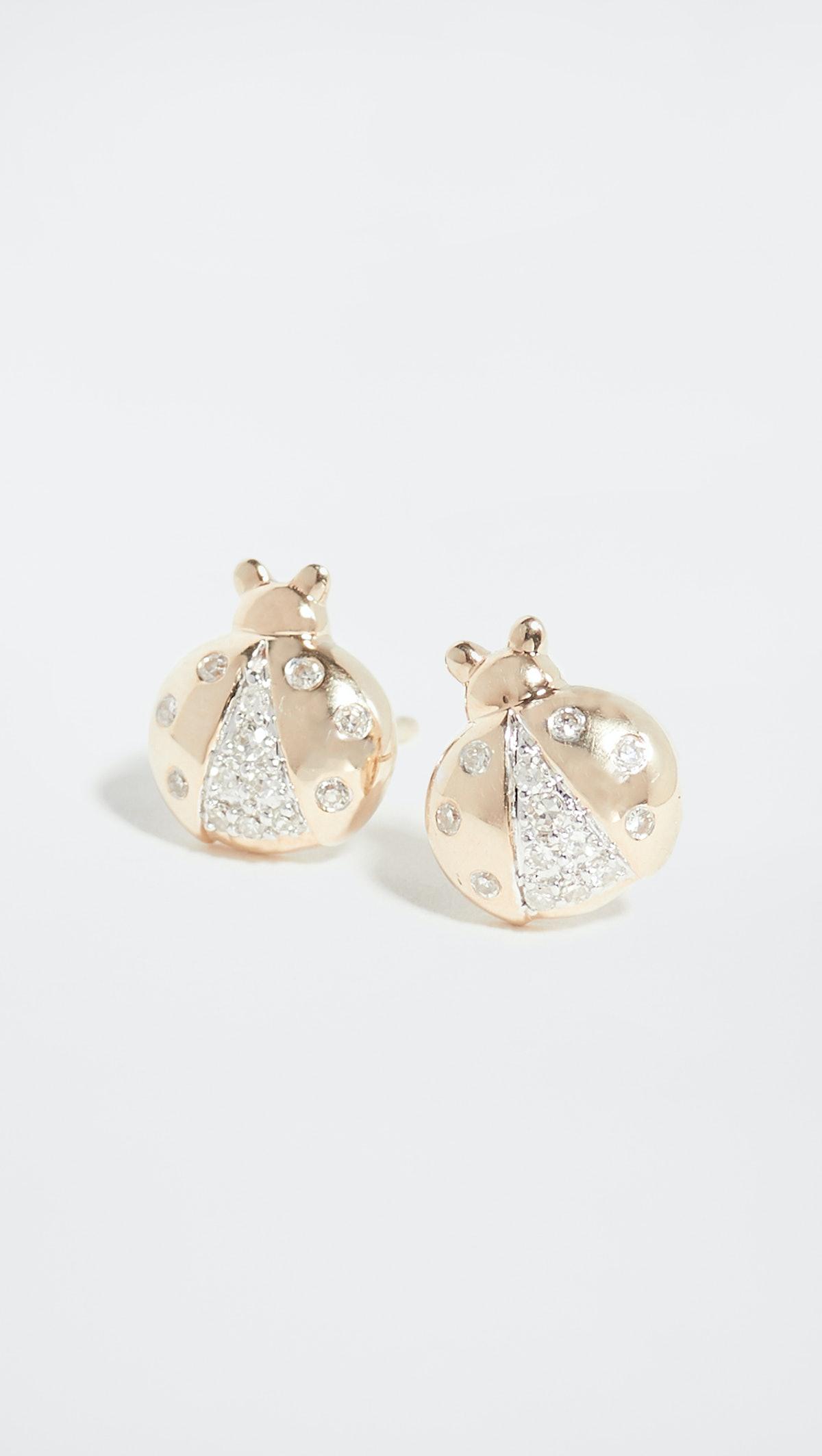 14k Garden Pavé Ladybug Post Earrings
