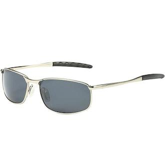ZHILE Polarized Wrap Metal Sunglasses