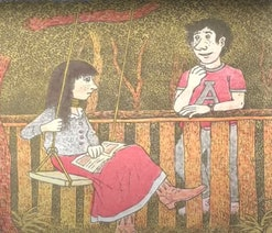 An image of a girl with long brown hair in a red dress on a swing with a green ribbon tied around her neck. She is looking at a boy wearing a tee shirt and pants.