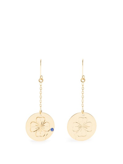 Clover Sapphire & Yellow-Gold Earrings