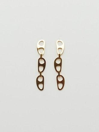 Gold Tab Drop Earrings