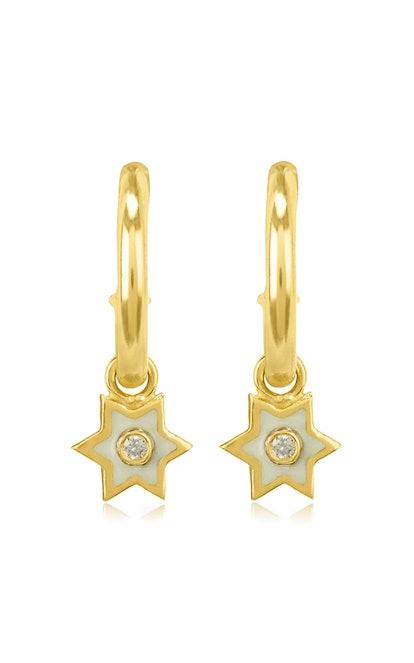 Mini 6 Sided Star 18K Yellow-Gold, Enamel And Diamond Hoop Earrings