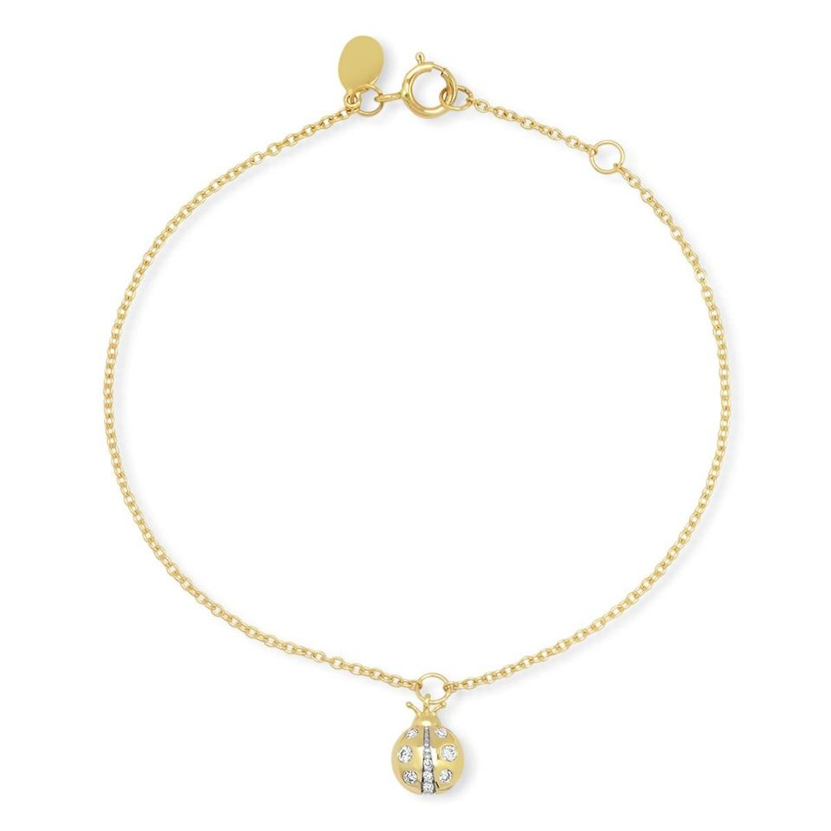 Diamond Ladybug Charm Bracelet