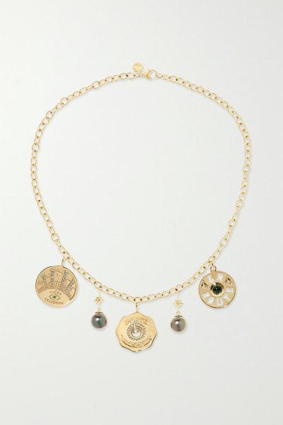 Coin 14-Karat Gold Multi-Stone Necklace