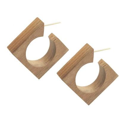 Arlie Squared Wood Hoop Earrings
