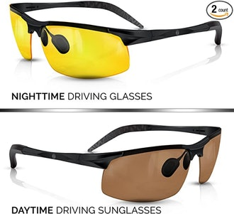 BLUPOND Day And Night Driving Glasses With Car Clip Holder
