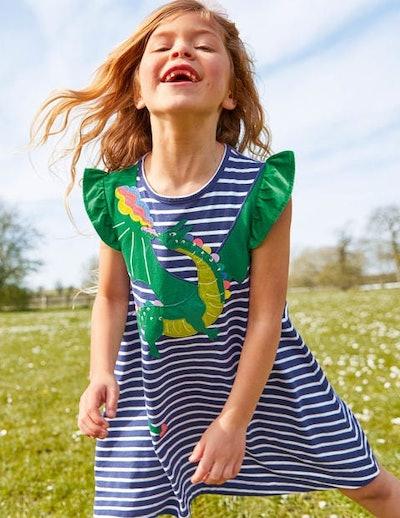 Flutter Sleeve Appliqué Dress (Starboard Blue/Ivory Dragon)