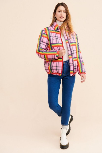 Daisy Street Rainbow Check Puffer Jacket