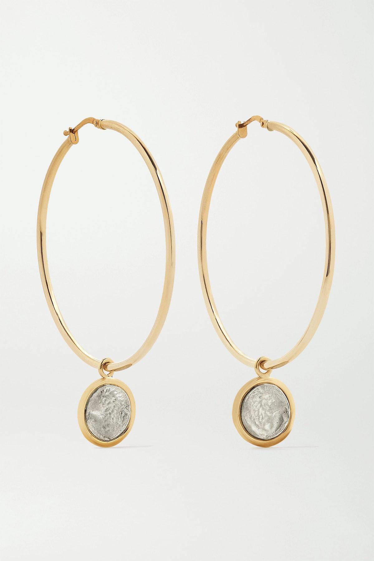 Lion 18-Karat Gold And Sterling Silver Hoop Earrings
