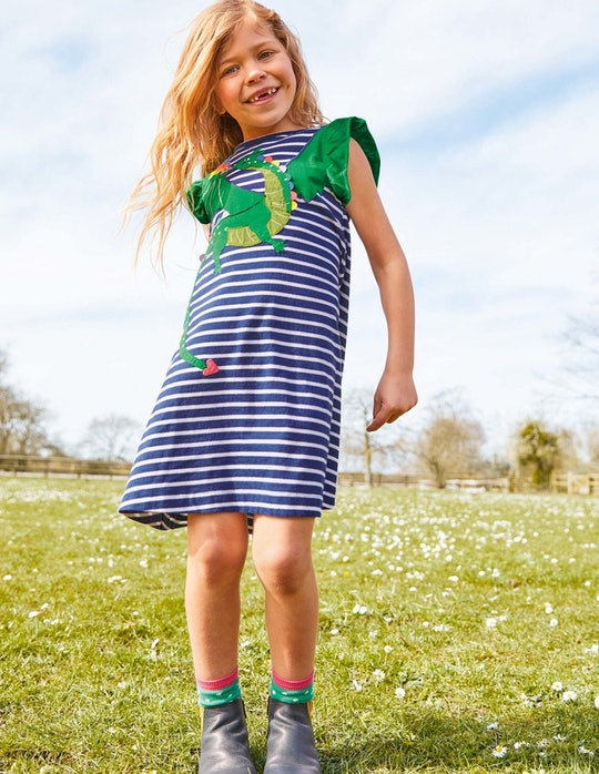 girl in dragon dress from boden, boden labor day sale