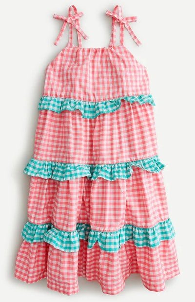 Girls' tiered ruffle dress in mixed gingham