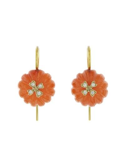 Carnelian Flower Bead Earrings