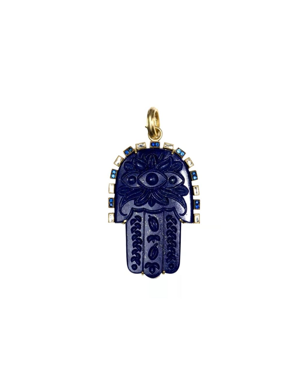 Carvings 18K Yellow Gold, Lapis Lazuli, Sapphire & Diamond Hamsa Pendant