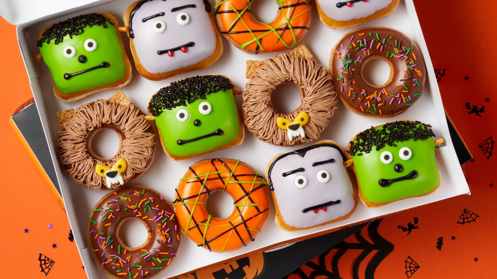 Krispy Kreme's 2020 Halloween doughnuts include Dracula and Frankenstein-inspired offerings.