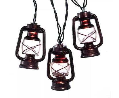 Kurt S. Adler 10-Count Brown Lantern Christmas Light Set, 8.5ft Green Wire