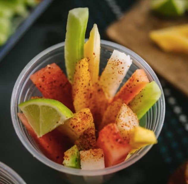 mexican fruit cups are an easy after-school snack kids can help make
