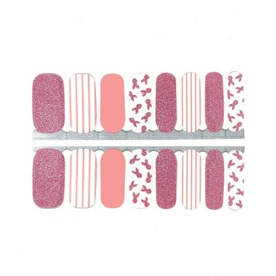 Patterned Breast Cancer Awareness Nail Wraps