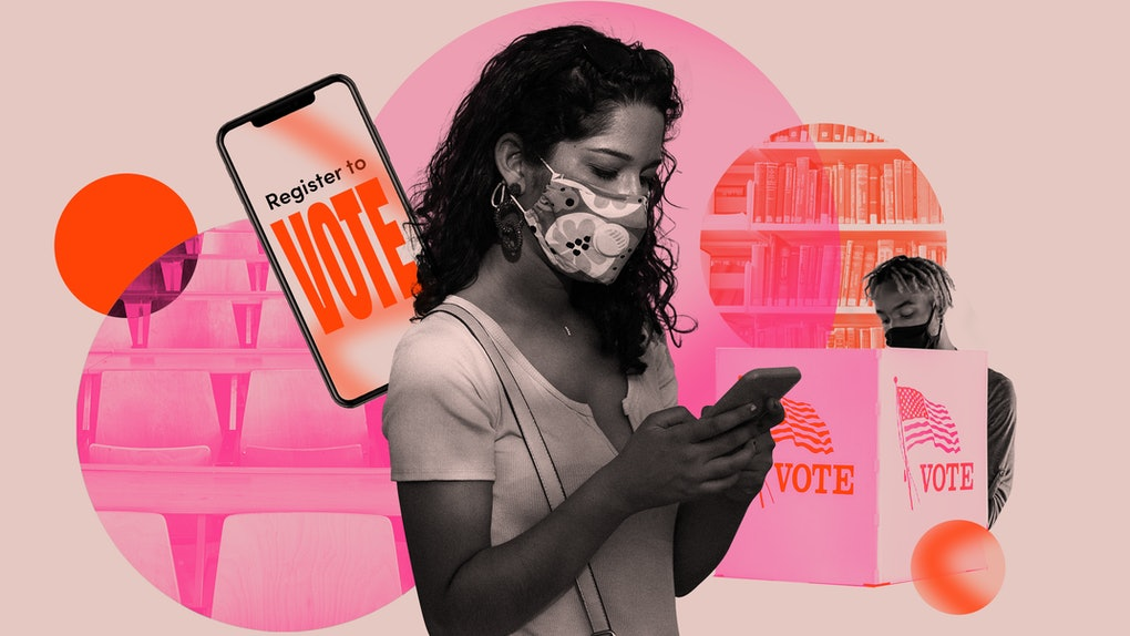 A black and white woman wearing a mask against a pink backdrop of get-out-the-vote images. Latinx college students are organizing votes through the pandemic.