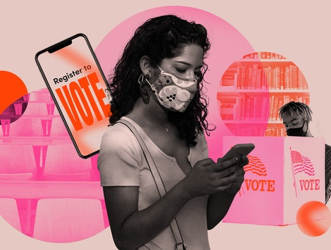 A black and white woman wearing a mask against a pink backdrop of get-out-the-vote images. Latinx co...