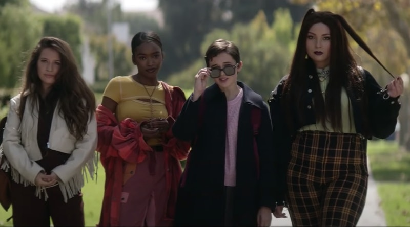 Gideon Adlon, Lovie Simone, Cailee Spaeny, and Zoey Luna in character as a coven of high school witches