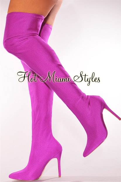 Purple Elastic Stretch Thigh-High Boots (1)